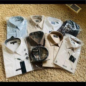 Bundle Men's dress shirt and belt size L